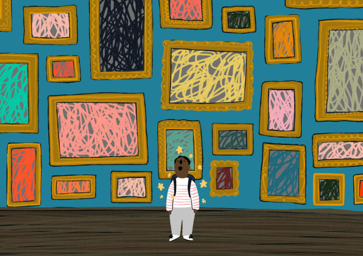Illustration of a small child standing in a gallery