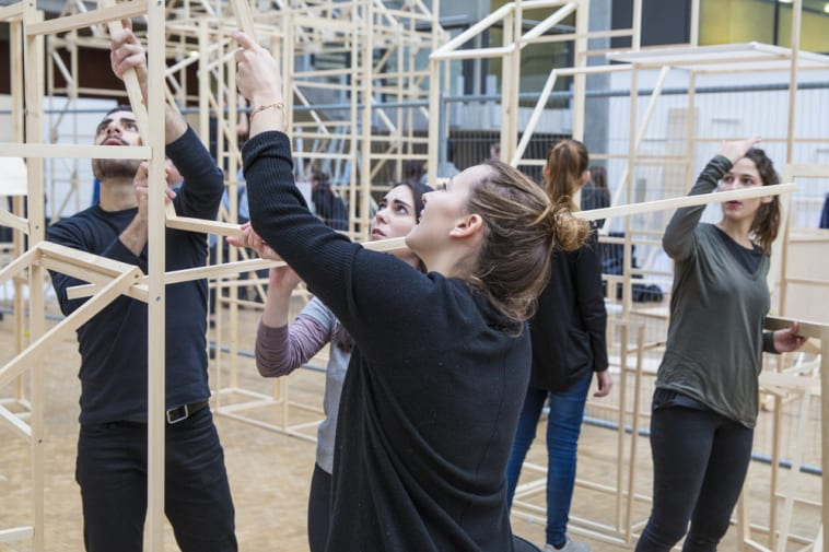 Students constructing a display Central Saint Martins