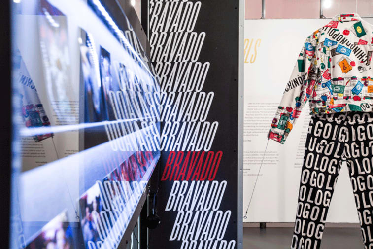 Moschino clothing in Super Sharp exhibition at Fashion Space Gallery