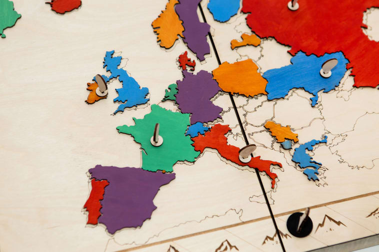 A colourful wooden map of Europe designed by student Stella Adamidou. Image by Lewis Bush.