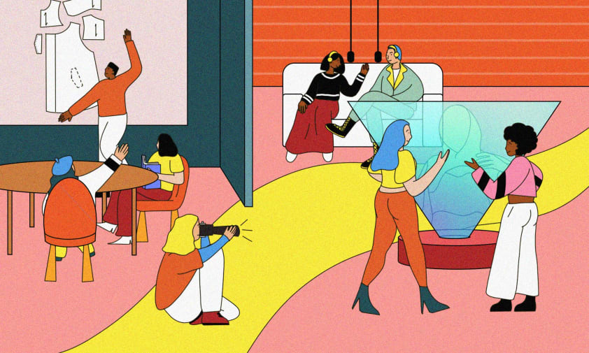 Colourful illustration of students interacting at university