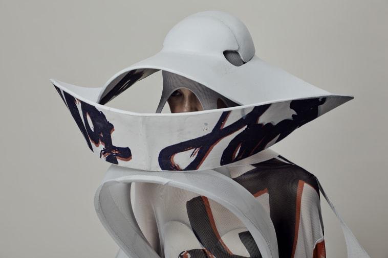 Model in Japanese style head dress.