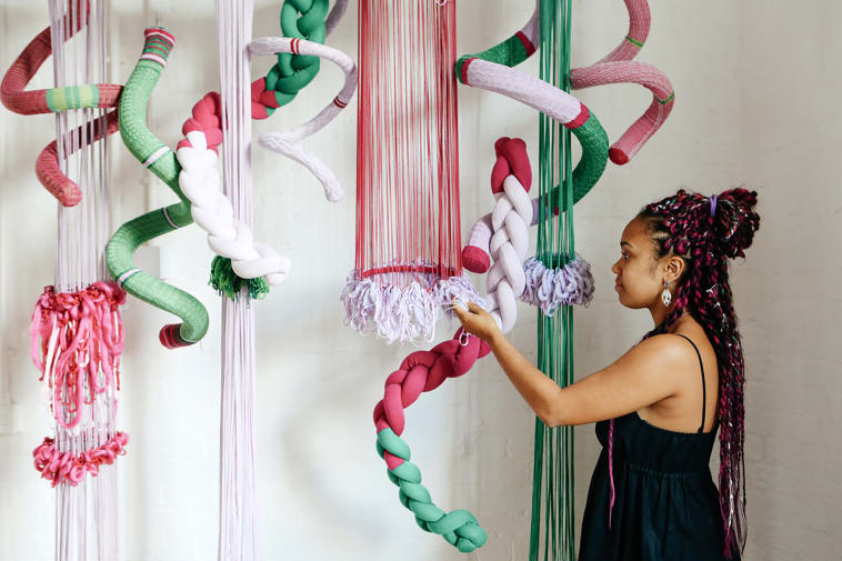 Textiles installation suspended from the ceiling