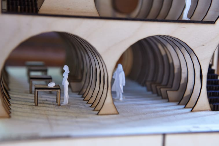 Miniature wooden model of a building