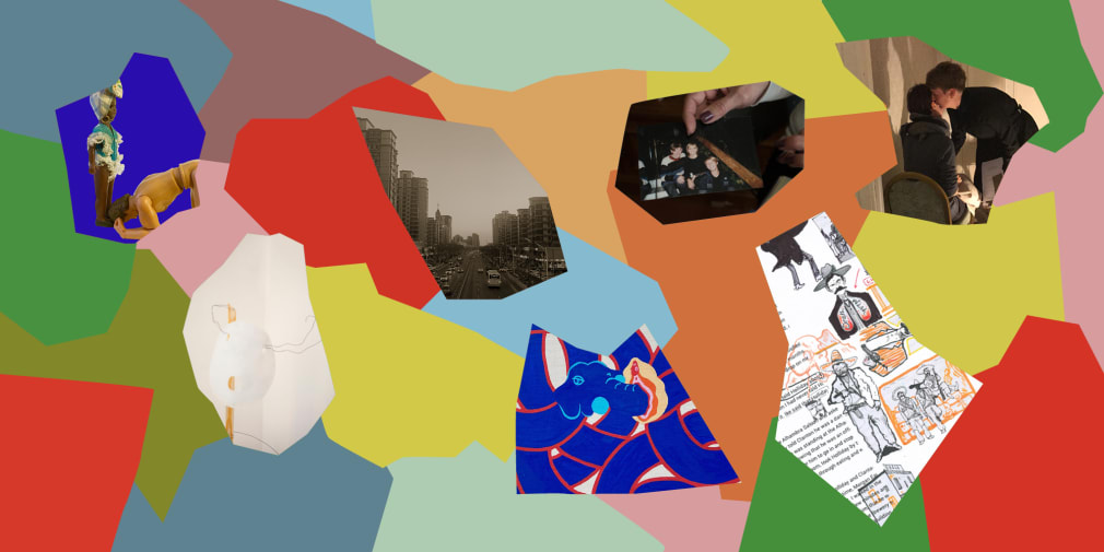 Colourful geometric shapes and cropped images of student work.