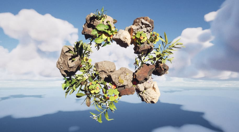 Digital image of sculpture of leaves and rocks floating against a sky background