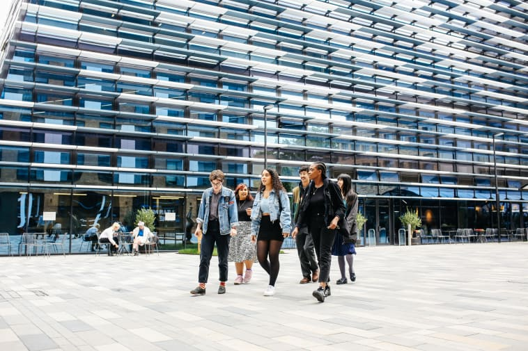 Students walking in front of Camberwell College of Arts
