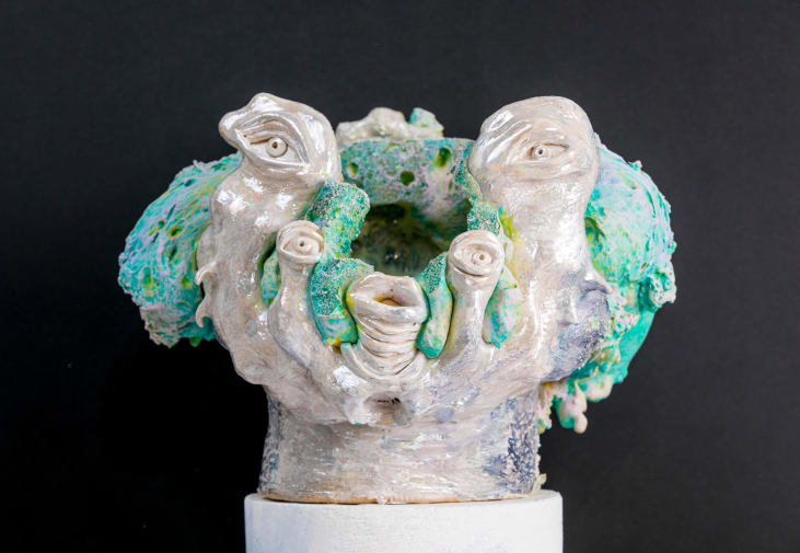 Green and pearl coloured sculpture