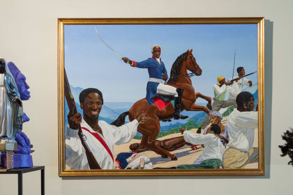 Crop of Kimathi Donkor, Toussaint L'Ouverture at Bedourett, 2004 on display at the Diaspora Pavilion at Venice Biennale 2017.