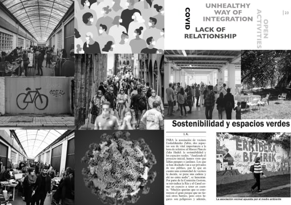 Image is of a black and white collage with newspapersnipping'swritten in Spanish, the headline translated is'Sustainabilityin green spaces'Images in the collage are of people in large groups visiting places within the city, some people are wearing masks, there is also an image of the Covid-19 virus.