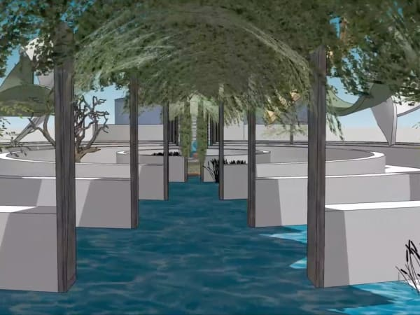Virtual garden with water and trees