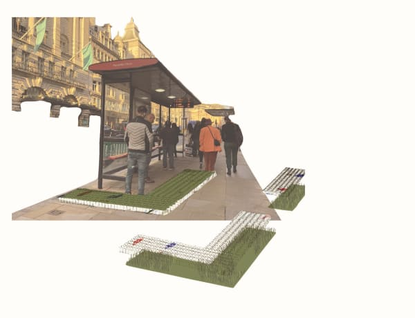 A CGI rendierng of people at a bus stop with green paving designs imposed under their feet.