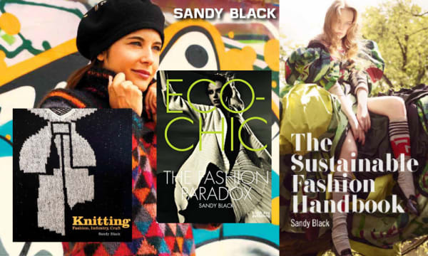 A composite image showing 4 fashion and knitting book covers
