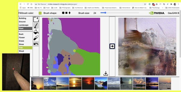 Screenshot of a programme with two images side by side, one broken down into colour fields anf the other with a visual effect on it. Along the bottom is a series of thumbnails of stock photographs of landscapes.