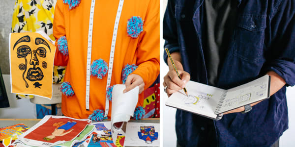 Split image, lefthand student holding up fabric samples. Righthand image, student holding and writing in open sketchbook.