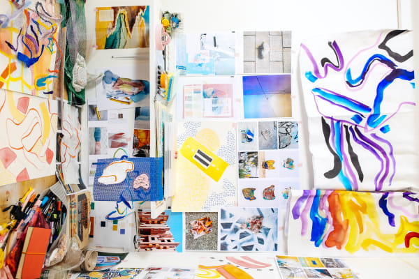 A colourful collage with textiles