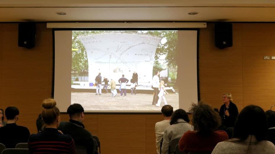 Jeanne van Heeswijk speaking at the Spatial Practices Lecture Series - Spring 2016