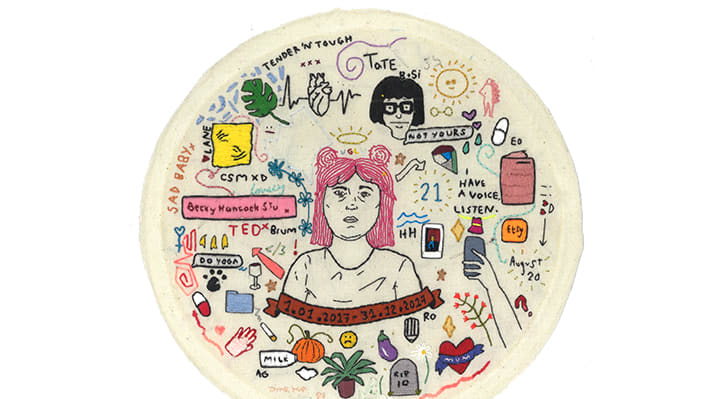 An embroidered self-portrait.