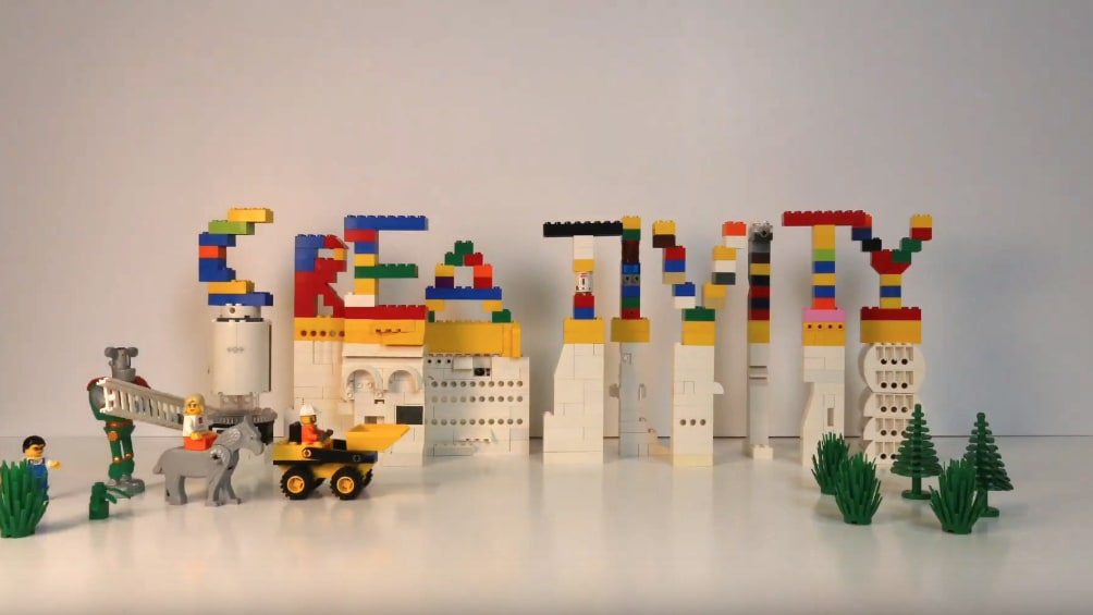 Lego bricks spelling out the word creativity
