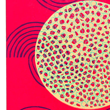 A triptych of colourful prints of abstract shapes and patterns.