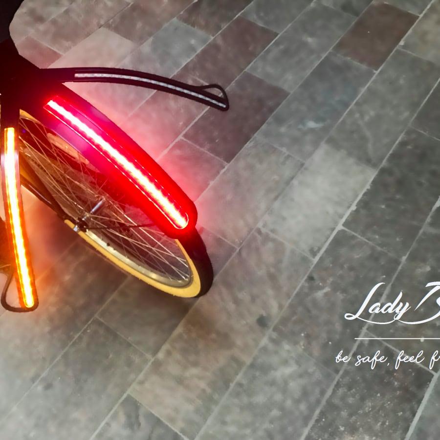 Lights on the back wheel of a bike