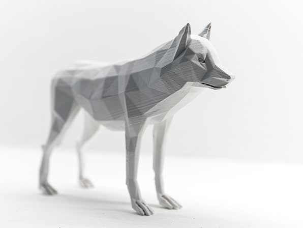 A 3D model of a wolf produced by an animation student.