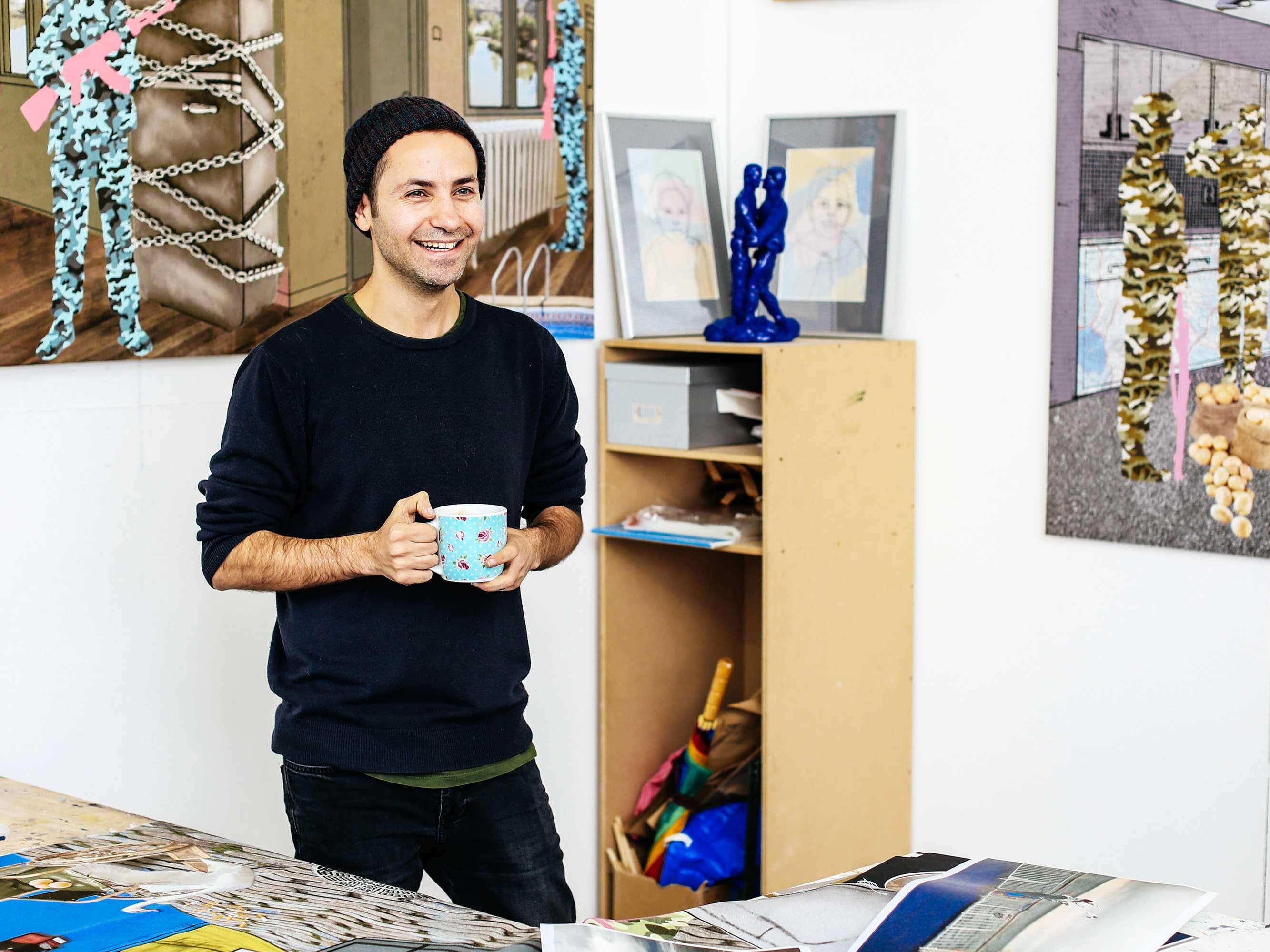 A student in a fine art studio