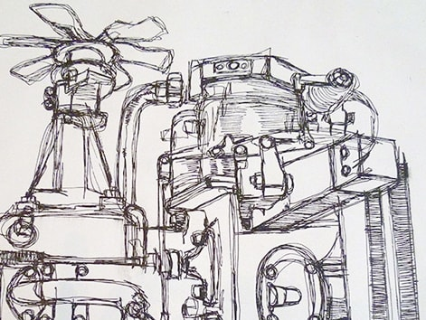 Biro drawing of a mechanical structure
