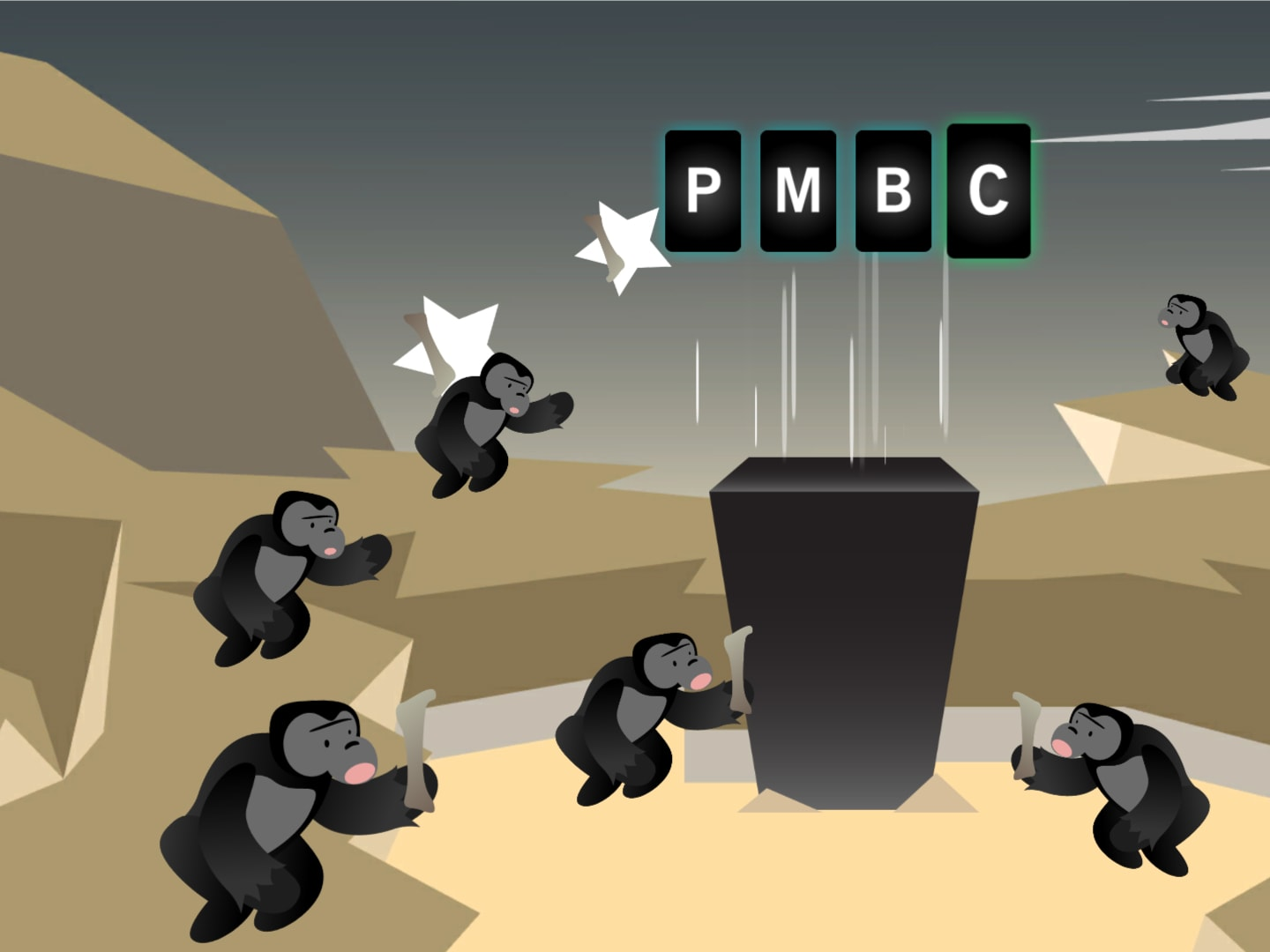 screenshot of game displaying apes surrounding a monolith with the letters PMBC above