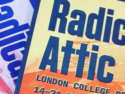 Poster design for Radical Attic. Showing a section of blue text on an orange background.