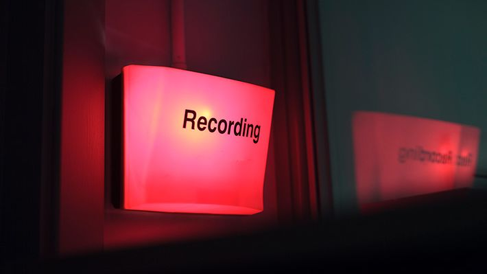 Red light indicating recording is taking place.
