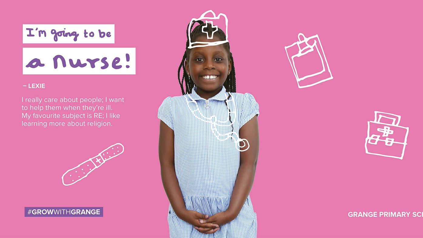 Promotional poster for Grange Primary School, showing a child dressed as a nurse, with the text