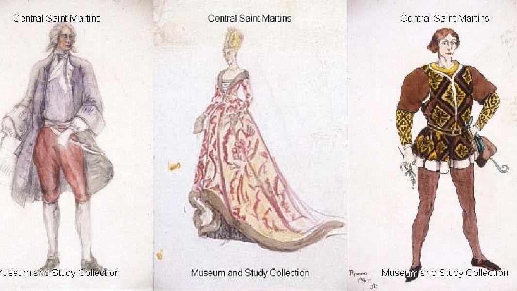 3 sketches of costume but Jeanetta Cochrane