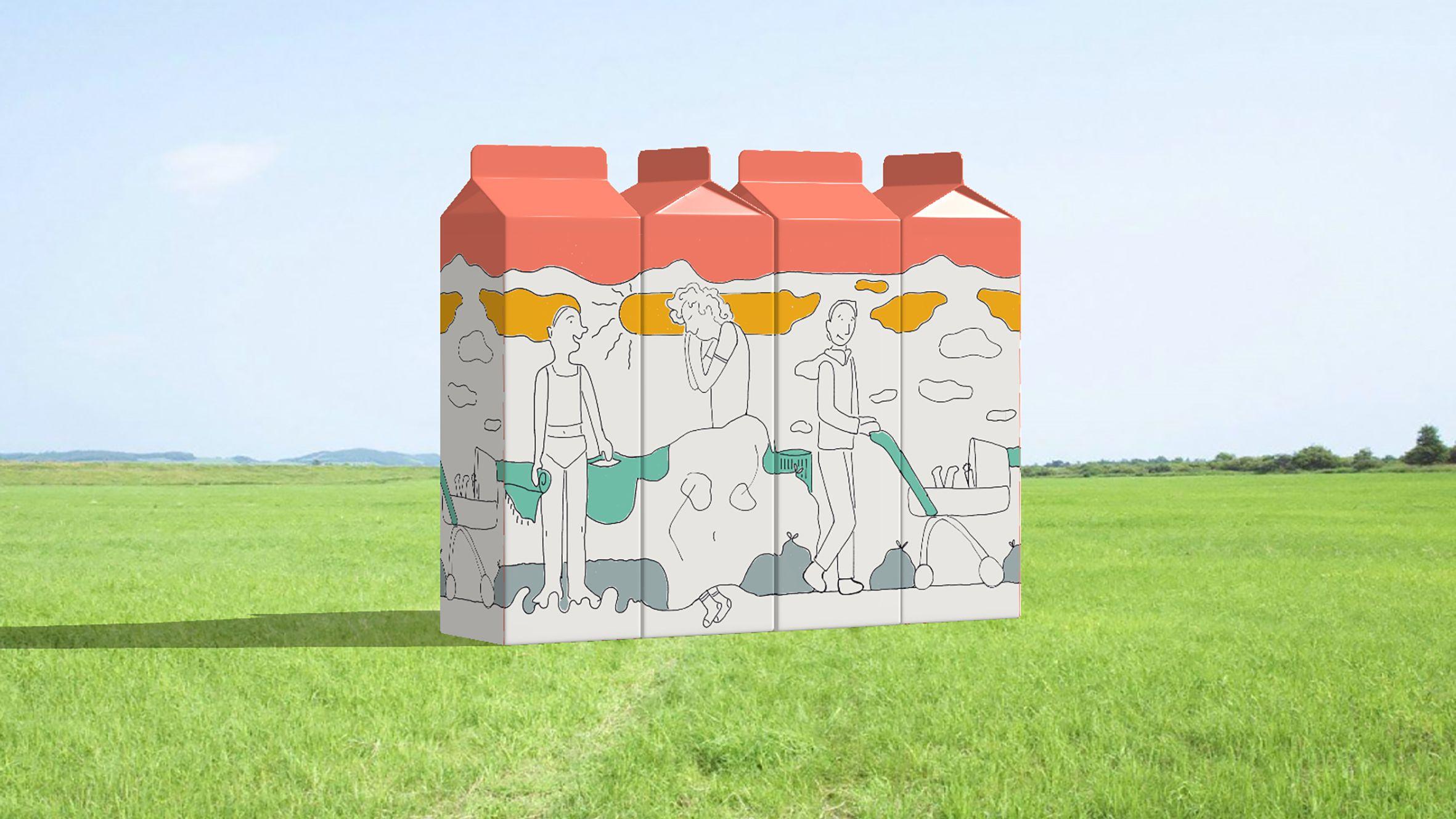 Four cartons of milk aligned to make a composite image