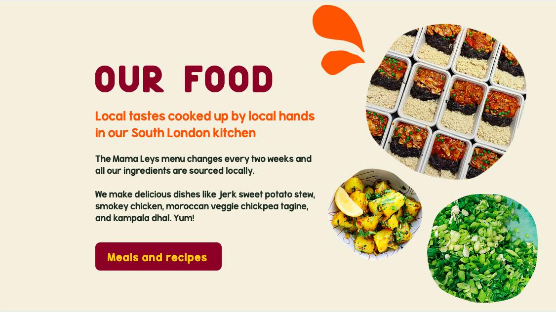 Image of a website design for healthy food