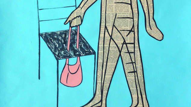An illustration of a person holding a handbag through a chair