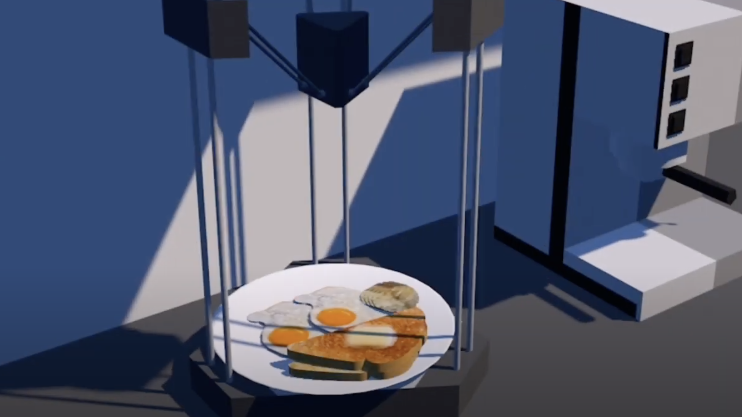Computer-generated image showing a plate of breakfast foods in a blue interior.