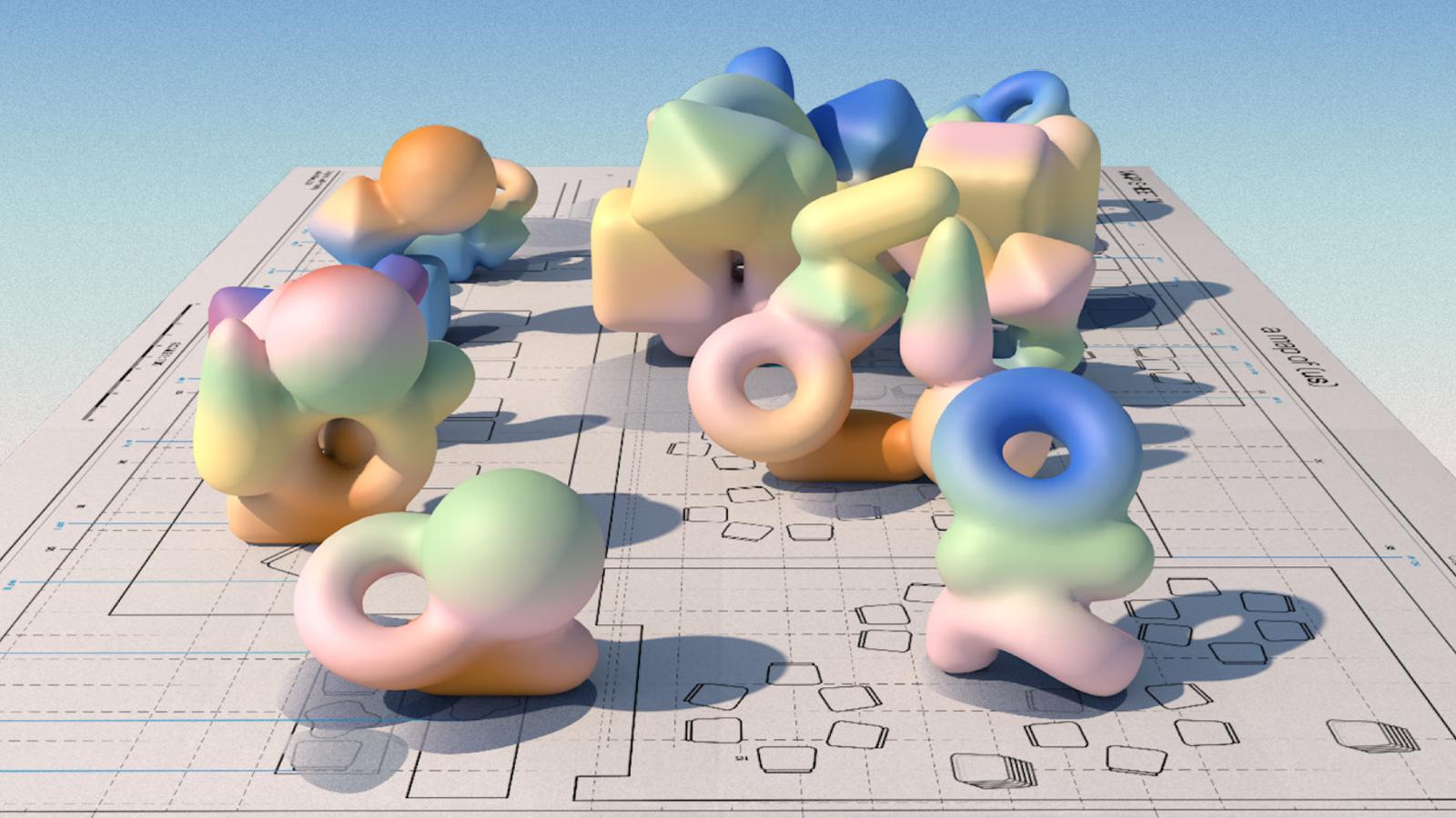 Pastel coloured 3D geometric shapes