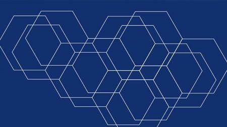 White hexagon outlines on navy nackground