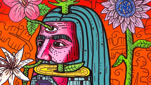 Brightly coloured painting of a man with long hair surrounded by flowers