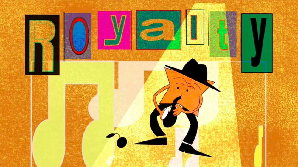 Animation of a figure playing a musical instrument.