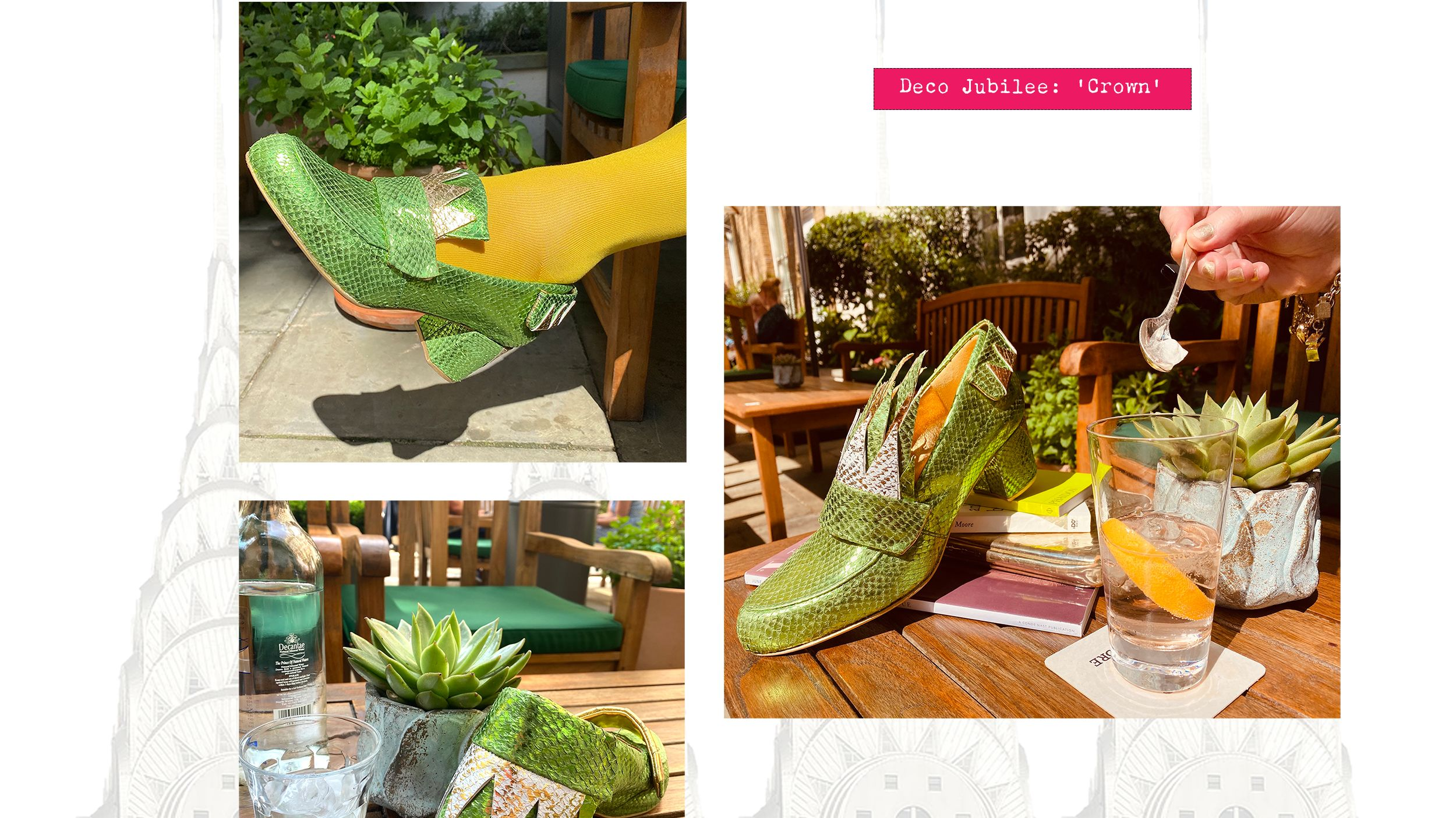Multi-way green loafer prototype with magnetic snap-on accessories.