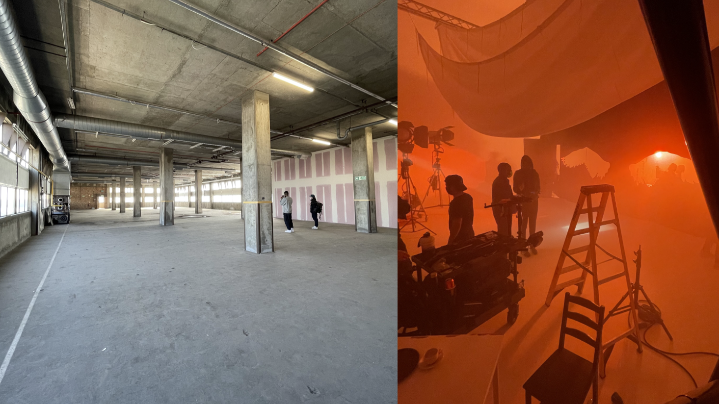 2 images showing behind the scene on set of a music video