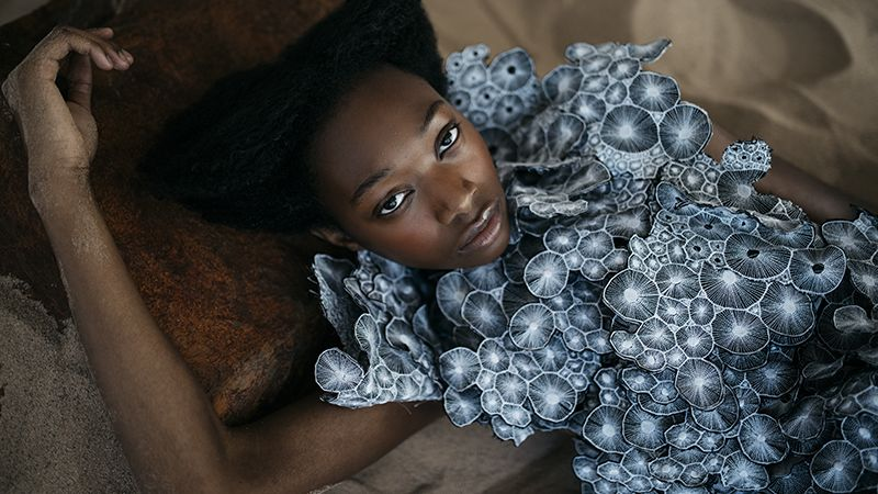 Black model wearing Michelle Marshall.