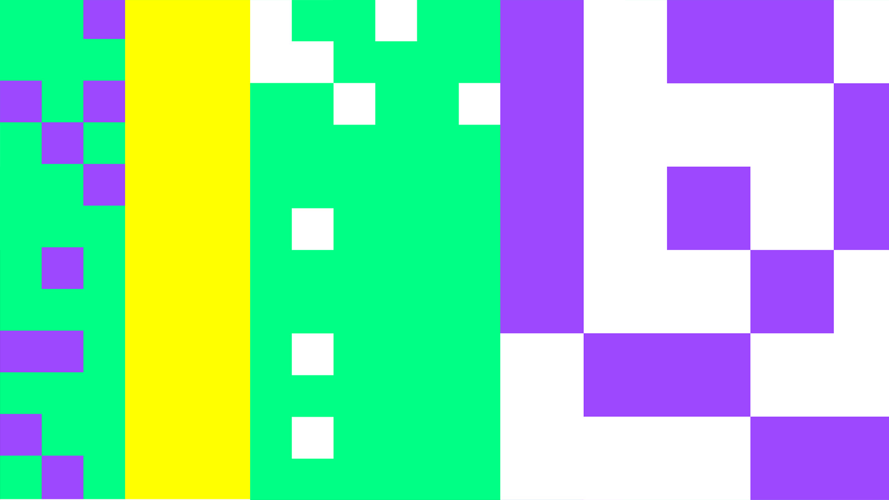 purple white and green pixels