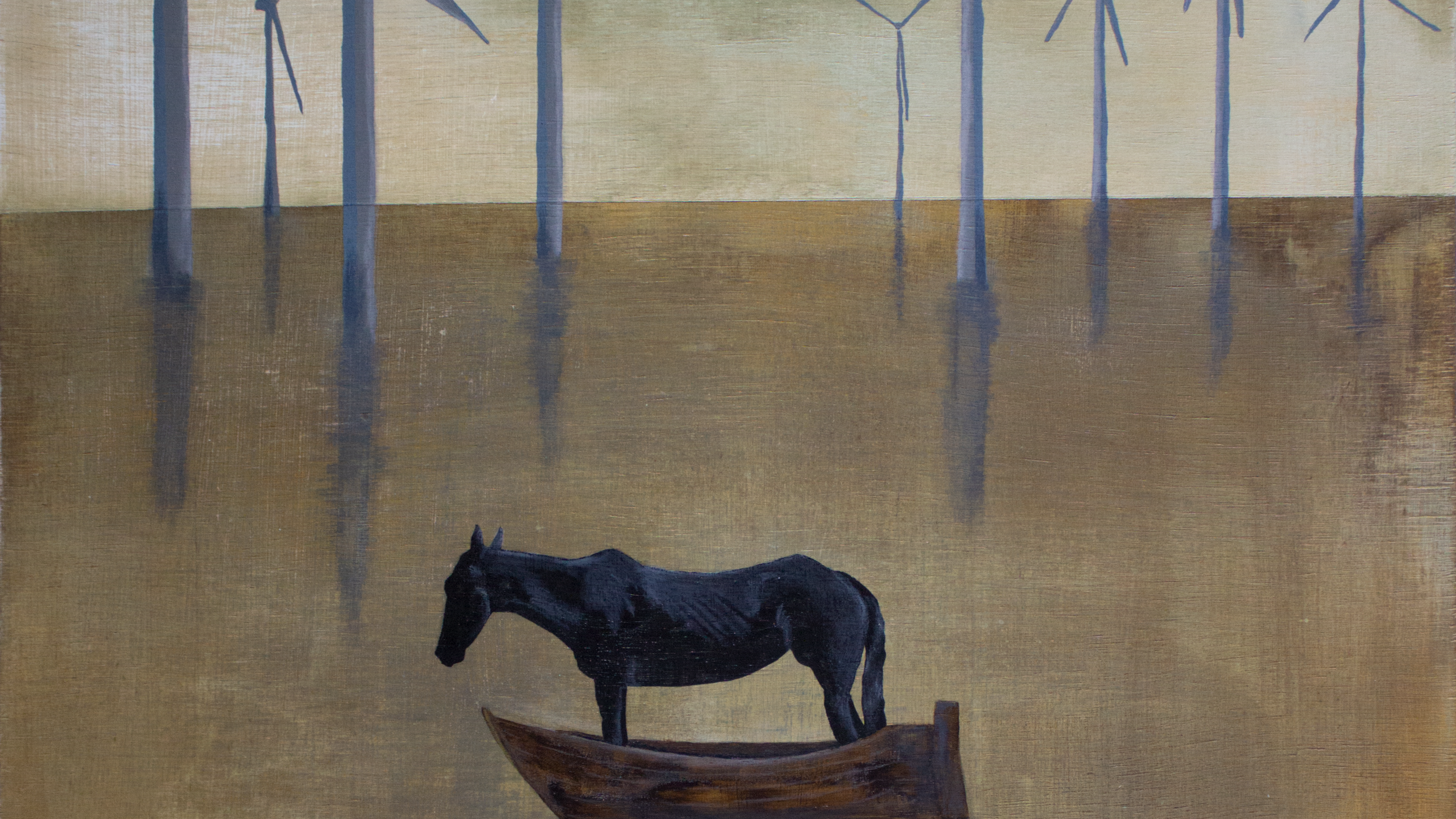 A painting of a horse inside a boat in front of a wind turbine