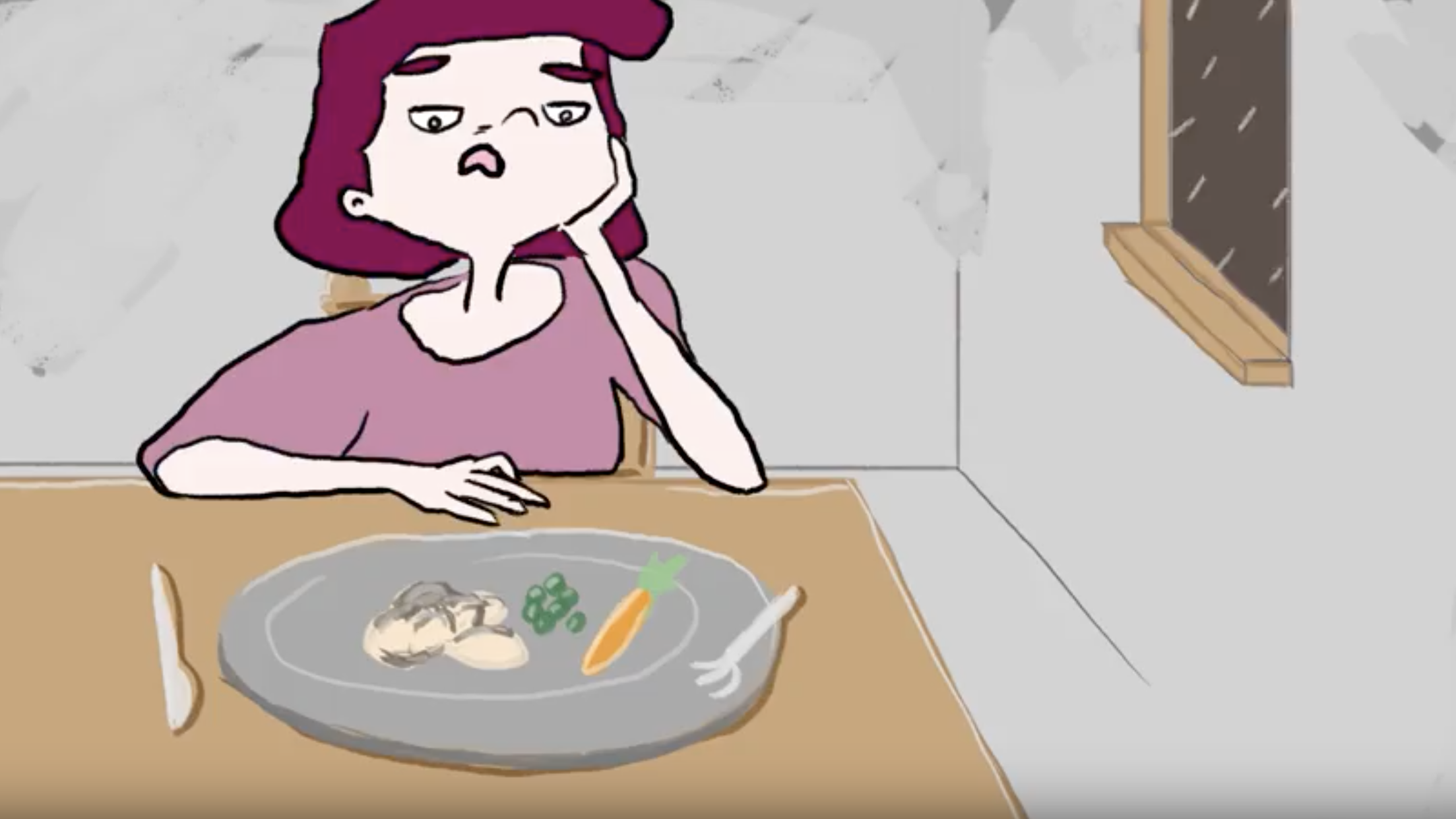 Image of cartoon drawn woman taken from animation sitting at dining table with her chin in her hands in front of plate with meat and vegetables