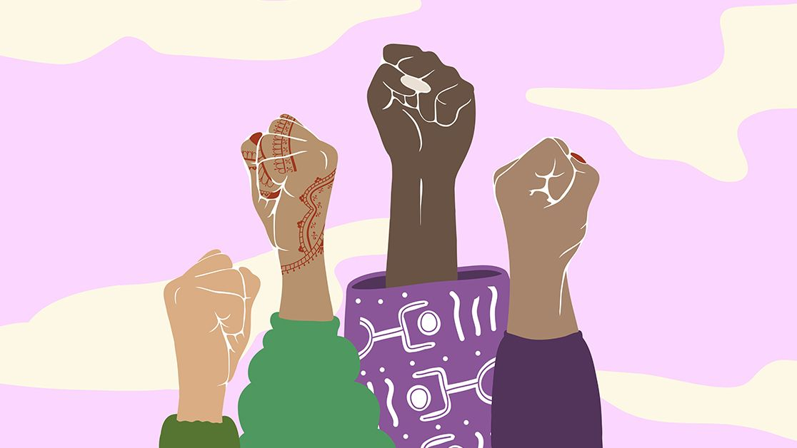 Womens' fists in the air