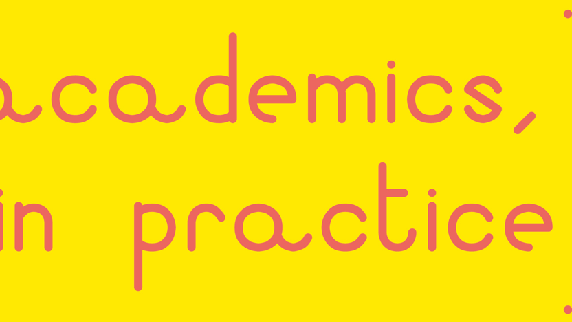Yellow background with text 'academics in practice written in a rounded, red, sans serif font