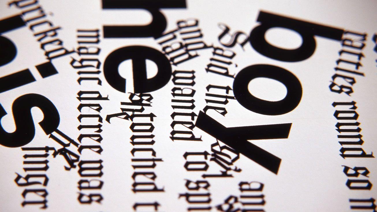 Black words printed on white paper